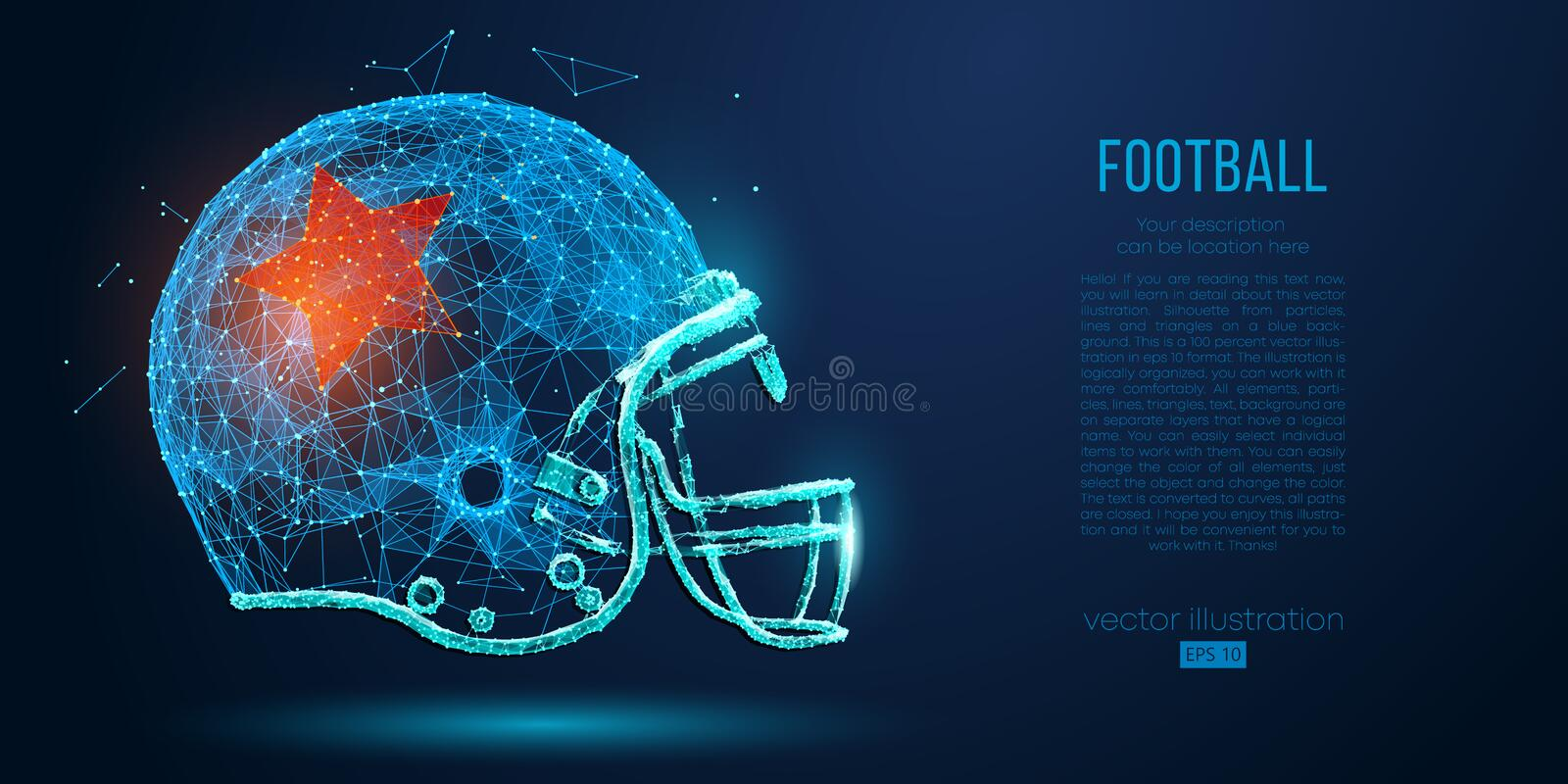 Abstract American football helmet from particles, lines and triangles on blue background. Rugby. Vector illustration vector illustration