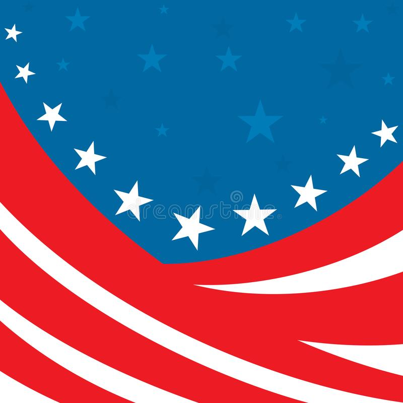 An abstract american patriotic illustration of numerous red stripes and white and blue stars. On a blue background stock illustration