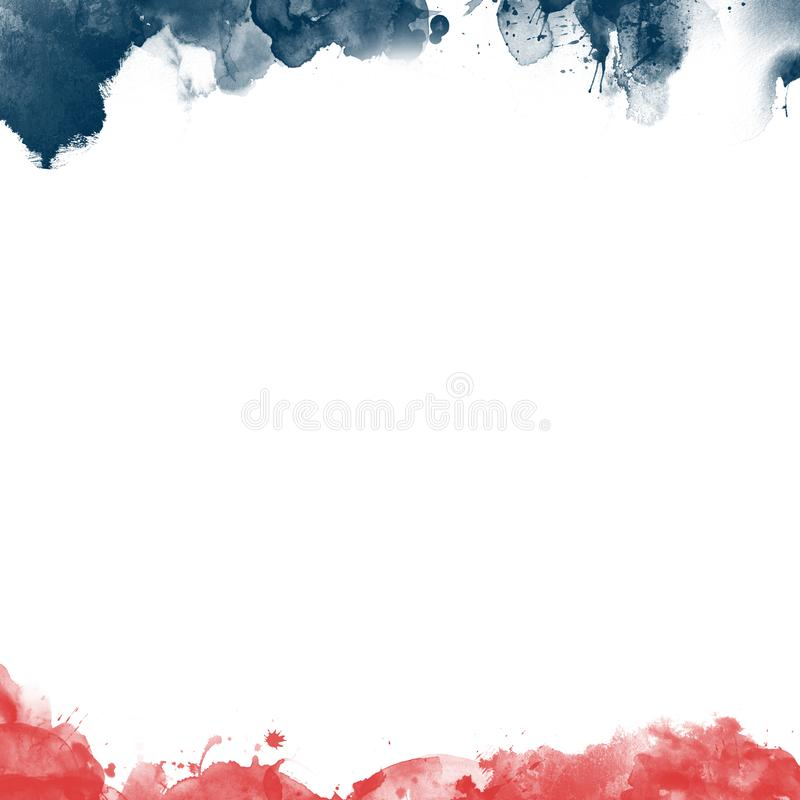 An abstract american patriotic illustration of stripes and stars in red and blue with paint brush effect. On an isolated white background stock illustration