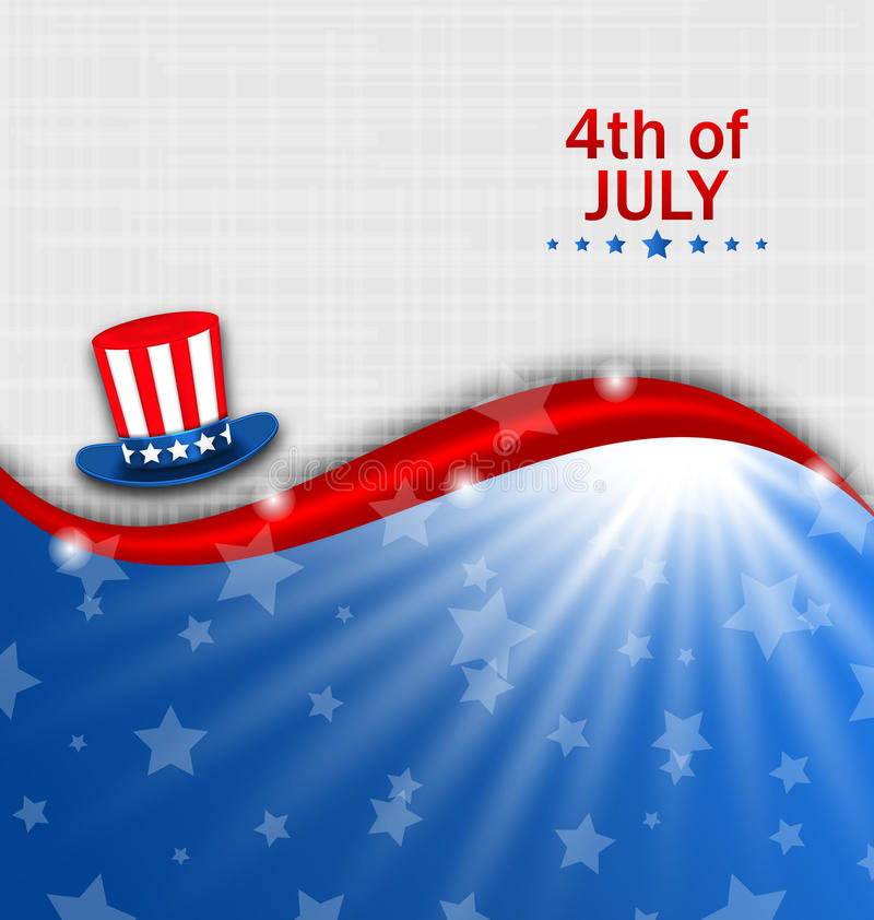 Abstract American Poster for Independence Day USA, Fourth July, Hat Uncle Sam royalty free illustration