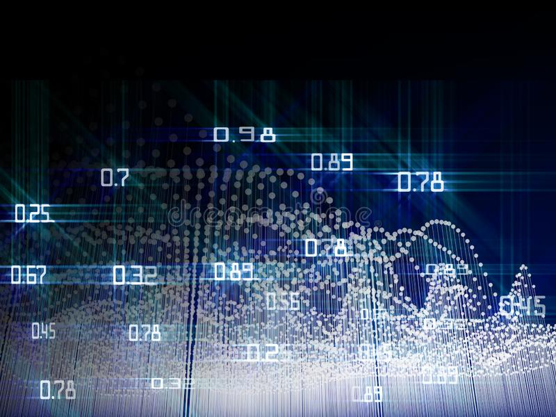 Abstract analysis infographic with glow dots  on blue  background. Big data concept stock photography