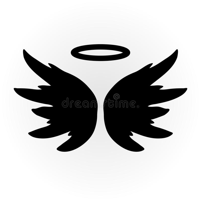 Abstract angel image. The wings and halo. Isolated object. Icon royalty free illustration