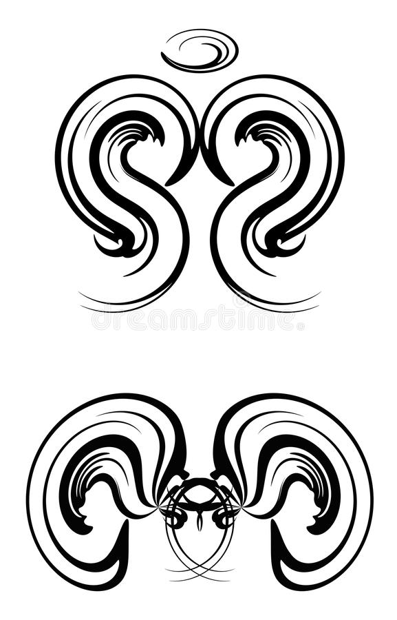 Abstract Angel Tattoos. Drawing of abstract angel tattoos in black stock illustration