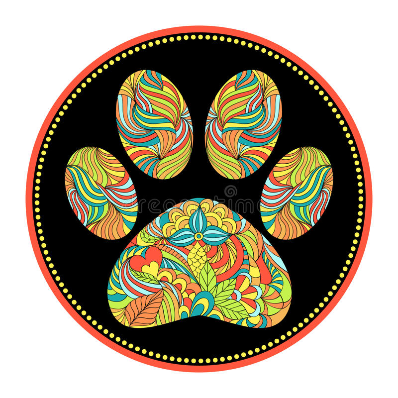 Abstract animal paw print stock illustration