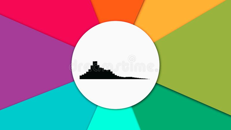 Abstract animation of black equalizer in the center of white circle on the colorful rotating rainbow background royalty free illustration