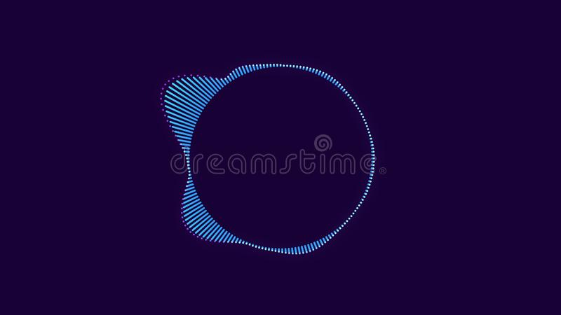 Abstract animation of colorful sound wave circle equalizer. Animation. Audio spectrum simulation for music, computer royalty free illustration