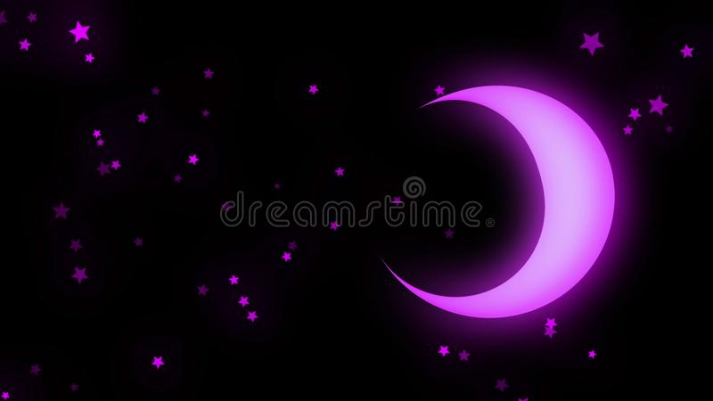 Abstract animation of neon moon and stars shining softly and rotating on the black background. Animation. Beautiful vector illustration
