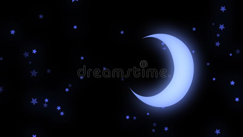 Abstract animation of neon moon and stars shining softly and rotating on the black background. Animation. Beautiful stock illustration