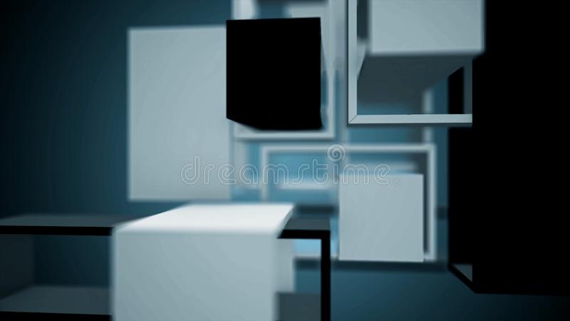 Abstract animation of rotating rectangular design. Elements of rectangular design rotating on isolated background vector illustration