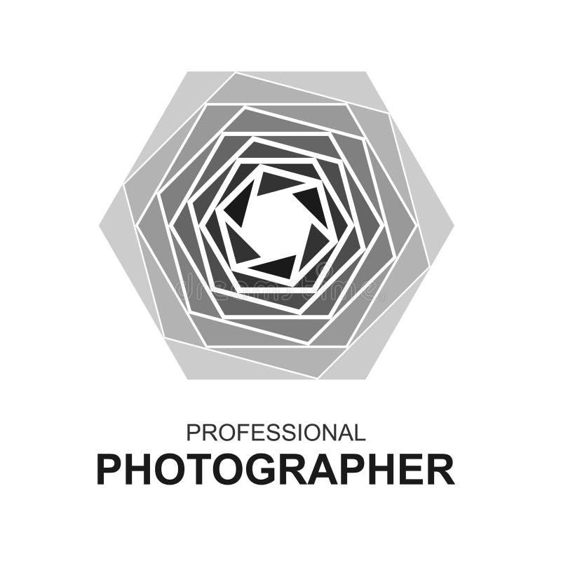 Abstract Aperture logo. Professional photographer emblem sign royalty free illustration