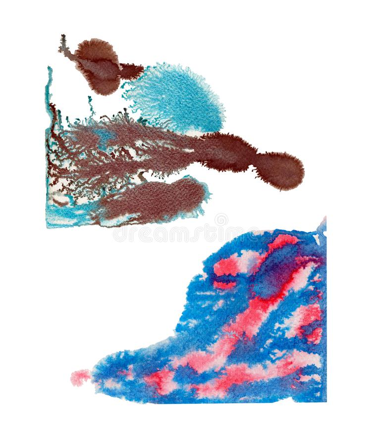 Abstract aquatype watercolor stain with splashes and spatters stock photography