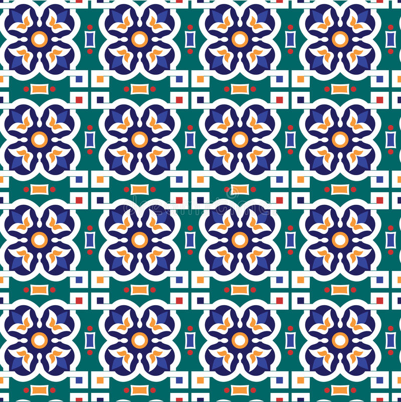 Abstract arabic islamic seamless geometric ornament pattern. Vector royalty free illustration