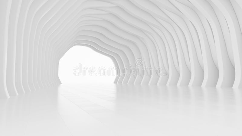 Abstract architectural design. White futuristic interior background. 3d rendering vector illustration