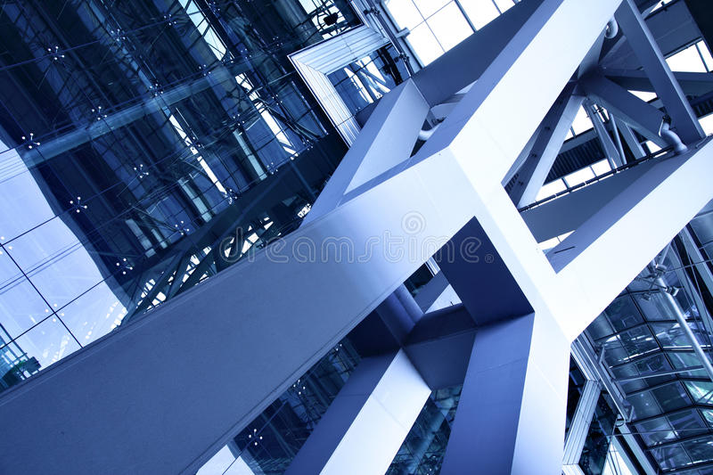 Abstract architectural detail. Toned in blue color stock photo