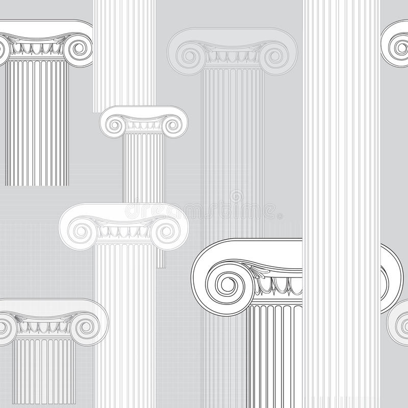 Abstract architectural pattern. Ionic columns seamless texture royalty free illustration
