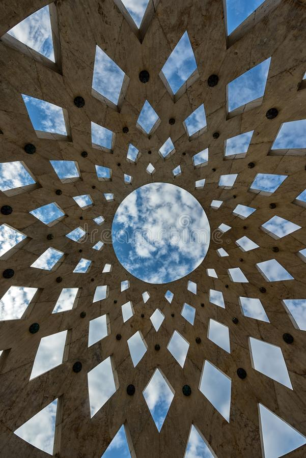 Abstract architecture background. With blue sky angle shot royalty free stock photography