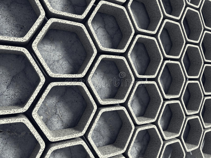 Abstract Architecture Background. Concrete Hexagon Wall royalty free stock photos