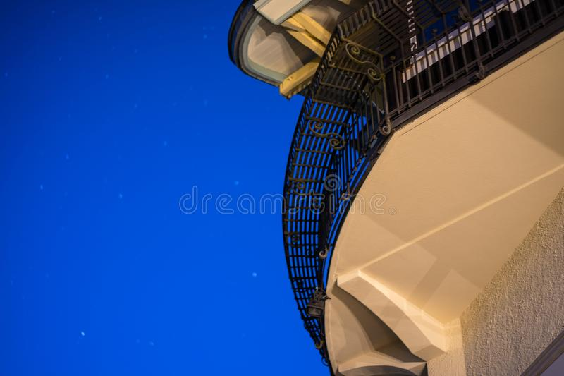Abstract architecture with blue sky at night. Low angle stock image