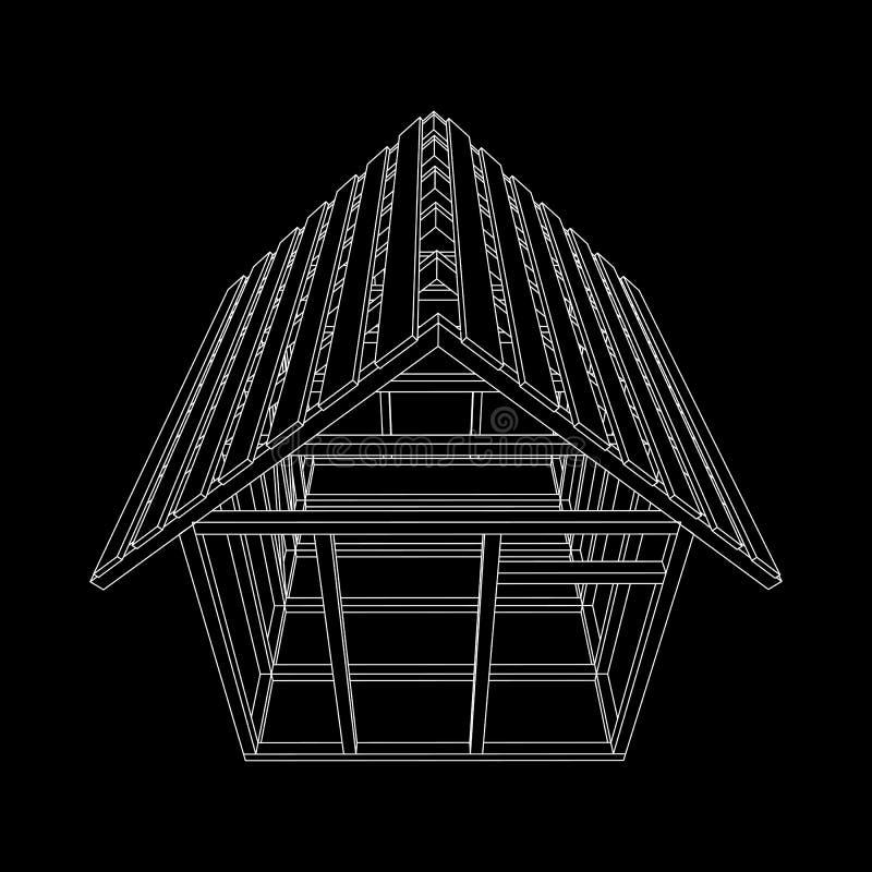 Wireframe framing house stock vector. Illustration of design - 105829128