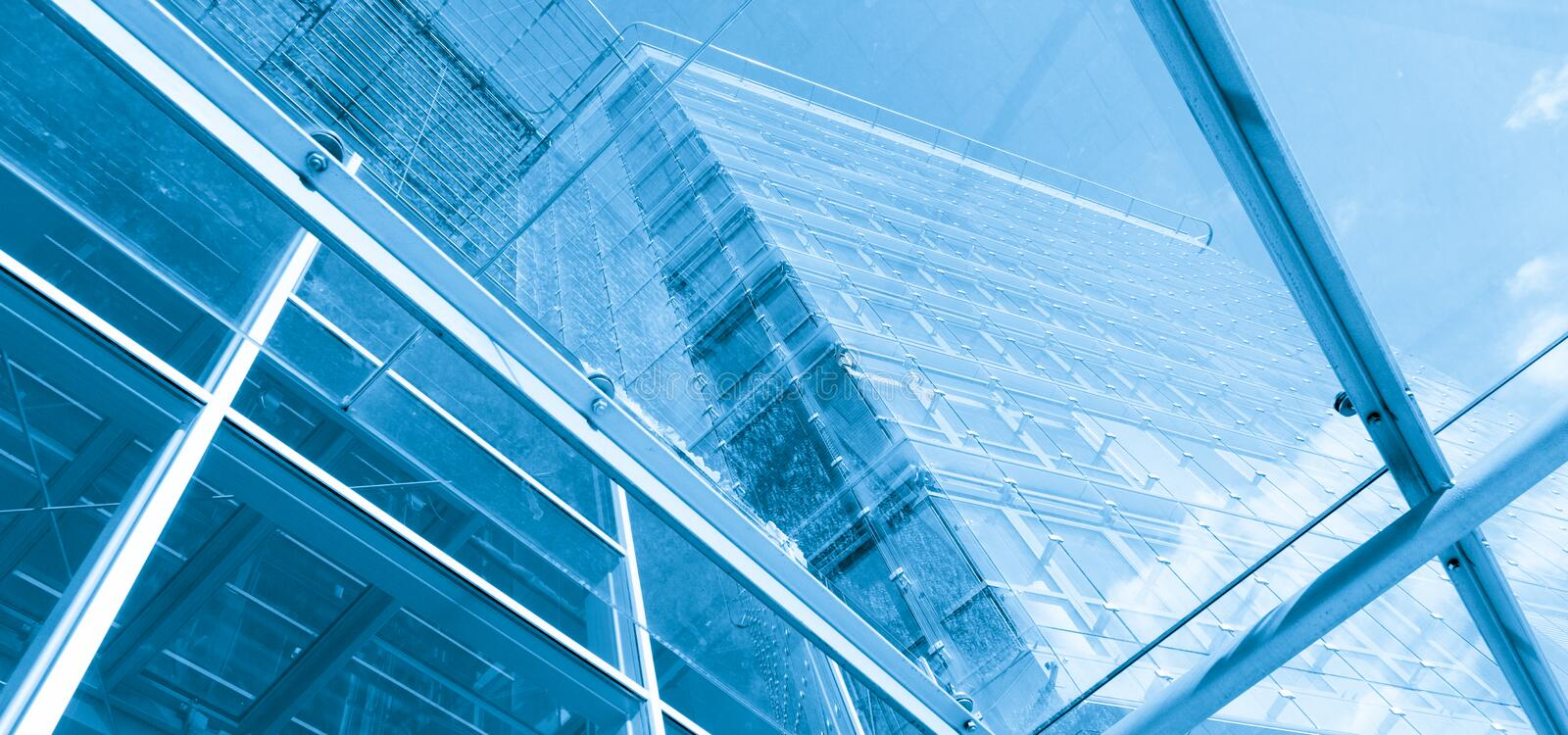Abstract architecture. Business center in blue royalty free stock images