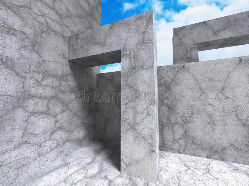 Abstract Architecture. Chaotic Concrete Construction. 3d Render Illustration stock illustration