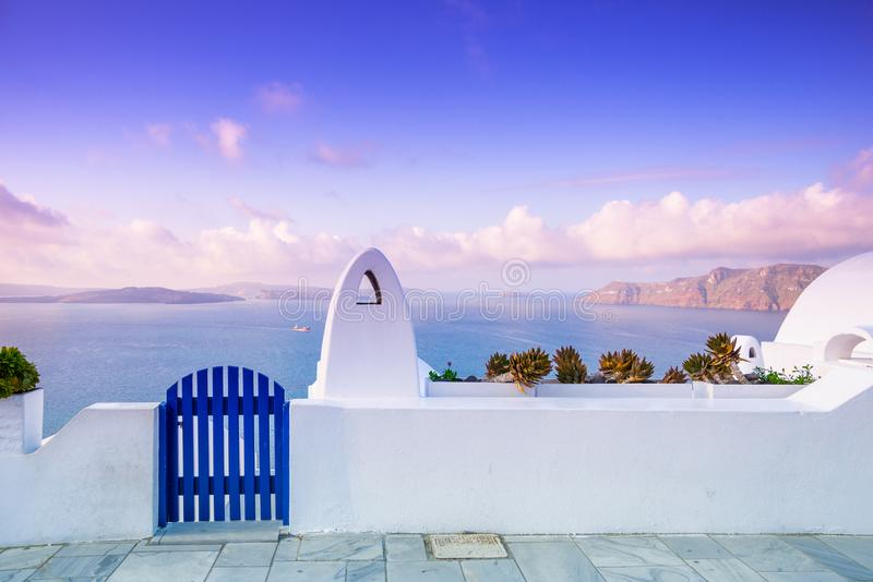 Abstract architecture of cycladic aegean traditional buildings, Santorini. royalty free stock photo