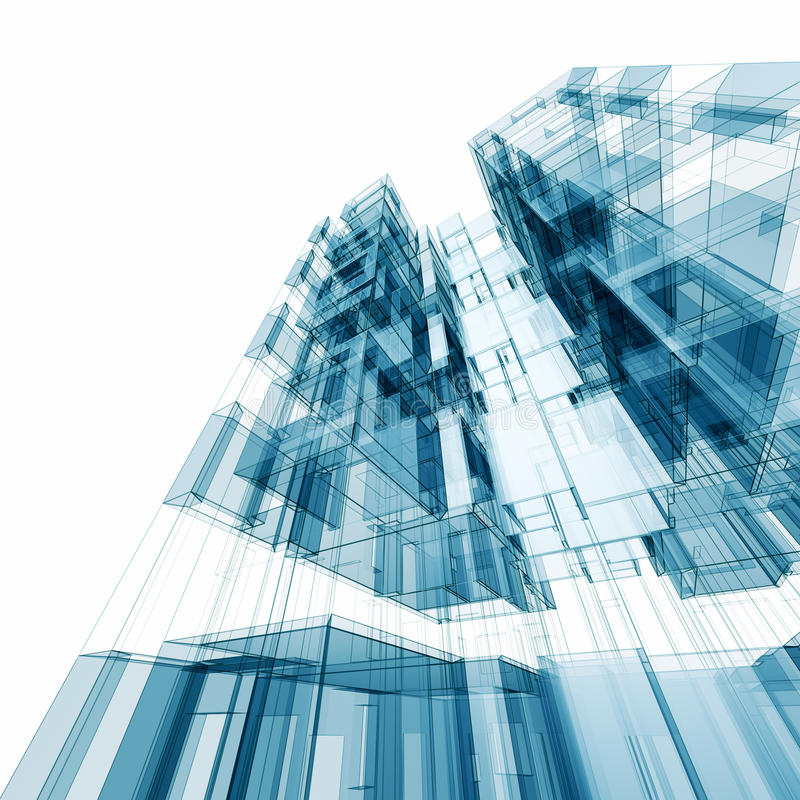 Picture Book Illustration Making An Architectural Model: Abstract Architecture Stock Illustration. Illustration Of