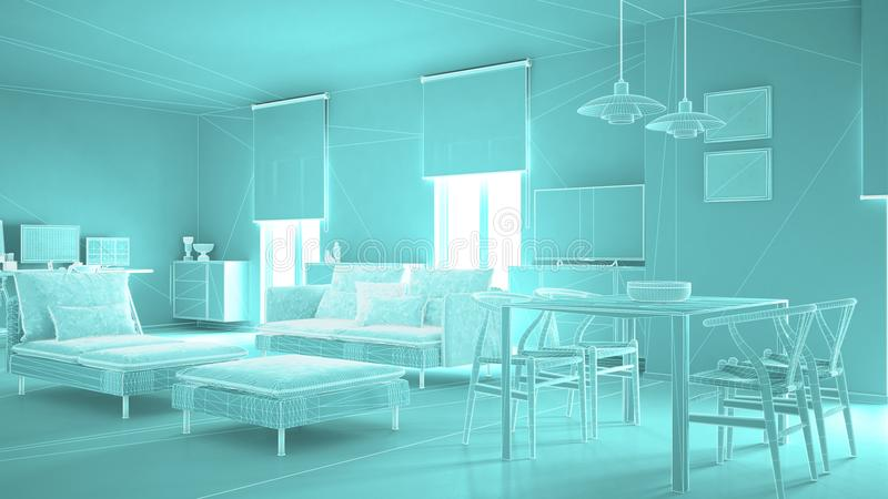 Abstract architecture interior design, modern living room, wireframe highpoly mesh construction, blue stock illustration