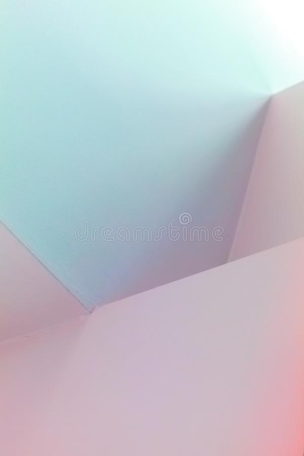 Abstract architecture, vertical background. Photo, colorful interior design with bright illuminated corners stock image
