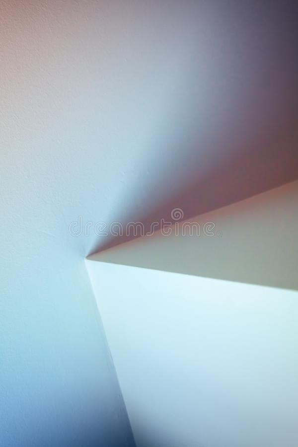 Abstract architecture, vertical fragment. Abstract architecture photo, vertical background. Colorful interior design with bright illuminated corners stock photography