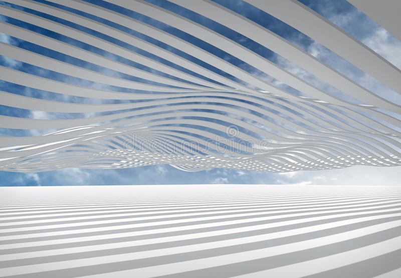 Abstract architecture wave stripes background