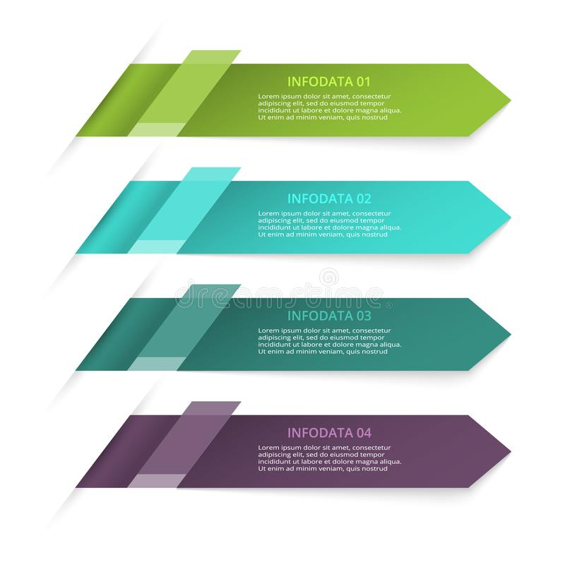 Abstract arrows of graph, diagram with 4 steps, options, parts or processes. Vector business template for presentation. Business data visualization. Process stock illustration