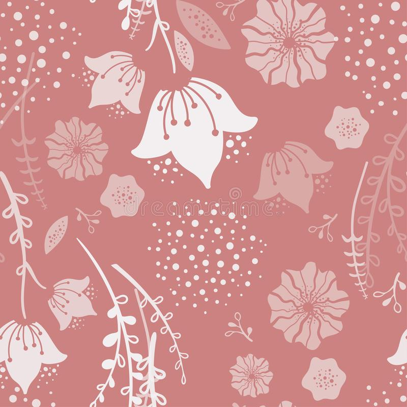 Trendy coral Spring Floral Seamless Pattern. Handdrawn vector illustration. Naive childish Bluebell flowers on white background. G. Reat for decor, fabric royalty free illustration