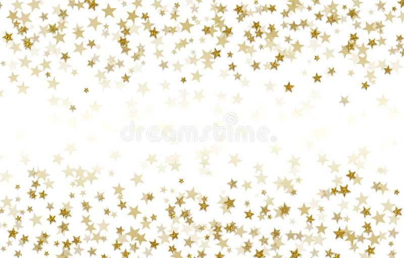 Gold stars on white background, gradient, holiday, confetti vector illustration