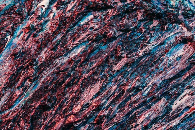 Abstract art blue red wet paint tree roots texture royalty free stock photography