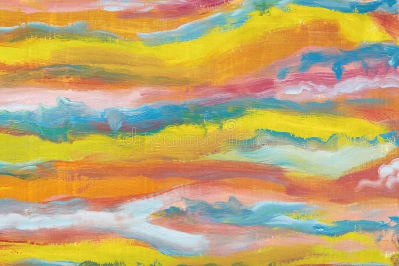 Abstract art background.Bright colors, abstracted waves. Oil painting on canvas. Creation of art. Multicolored bright texture. stock illustration