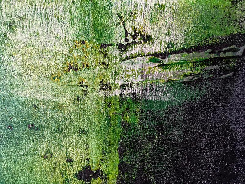Abstract art background green and black colors. Multicolor oil painting on canvas. Fragment of artwork. Texture backdrop stock photo