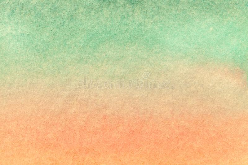 Abstract art background light green and pink colors. Watercolor painting on canvas. With soft coral and turquoise gradient. Fragment of artwork on paper with stock image