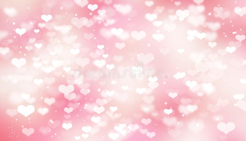 Pink blurred bokeh background with white hearts, Valentine`s day, love, tenderness, romance stock illustration