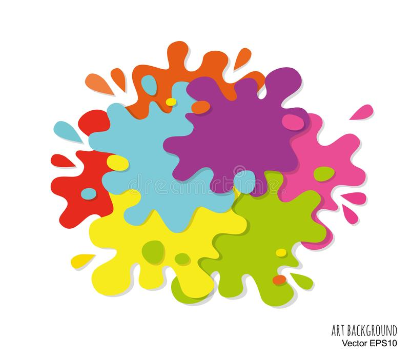 Abstract art background made of paint spots and splashes. Bright colors. Vector illustration stock illustration