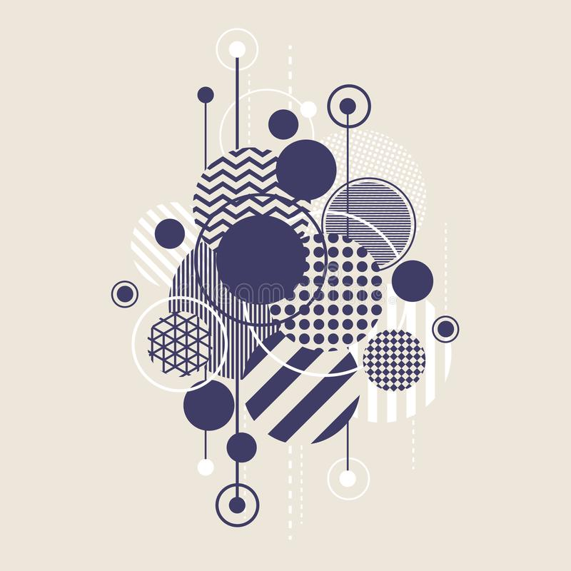 Abstract Art Background With Modern Geometric Round royalty free illustration