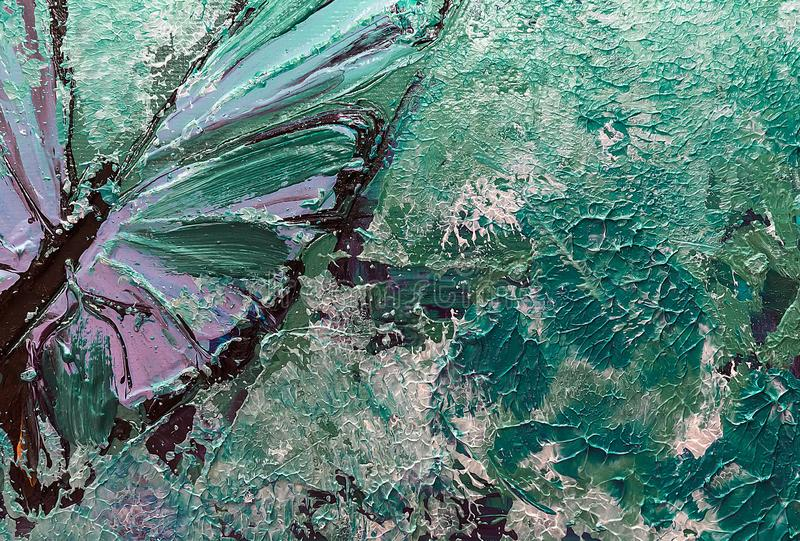 Abstract art background in monotype style. Fragment of oil painting on canvas, butterfly wing. royalty free stock photography