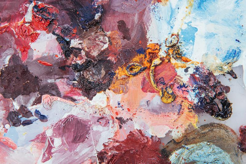Abstract art background. Oil painting on canvas. Multicolored bright texture. Fragment of artwork. Spots of oil paint. Brushstrokes of paint. Modern art stock photo