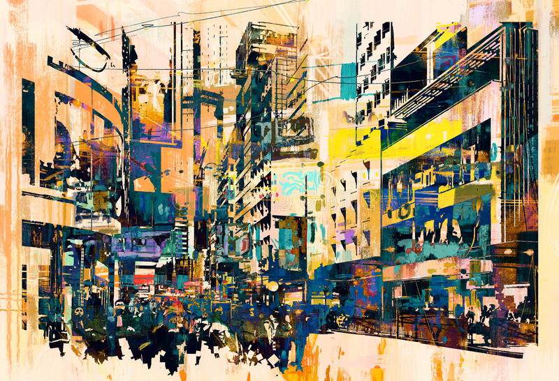 Abstract art of cityscape. Illustration painting