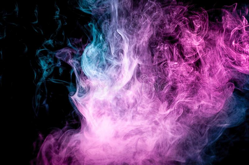 Abstract art colored blue and pink smoke on black isolated background. vector illustration