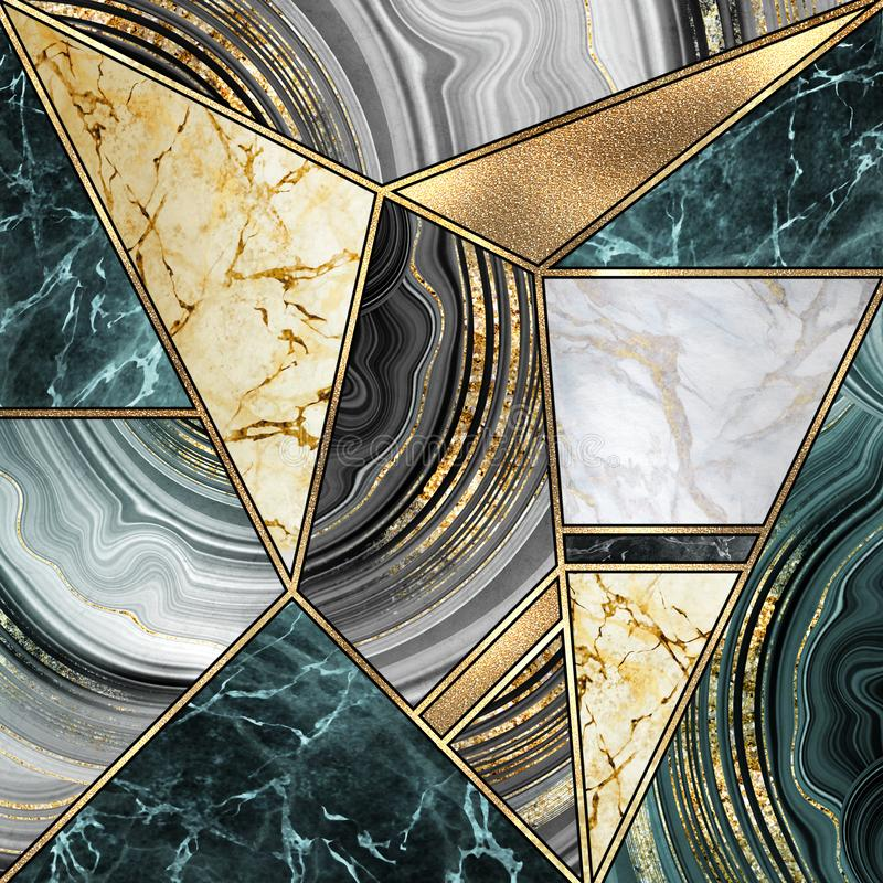 Free Abstract Art Deco Background, Modern Mosaic Inlay, Artificial Stone Textures, Marbling, Marble Granite Agate, Gold Stock Image - 156875091