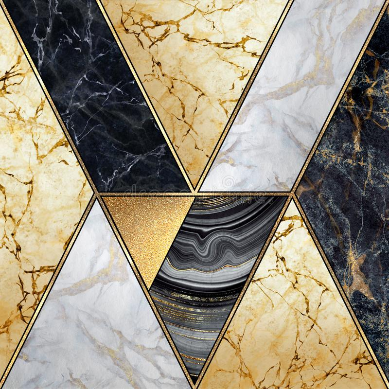 Free Abstract Art Deco Background, Modern Mosaic Inlay, Artificial Stone Textures, Marbling, Marble Granite Agate, Gold Royalty Free Stock Photo - 156875095