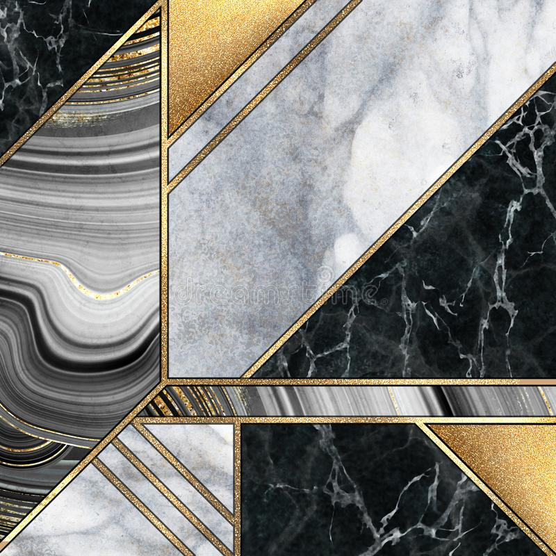 abstract art deco background, modern mosaic inlay, artificial stone textures, marbling, marble granite agate, gold royalty free stock image