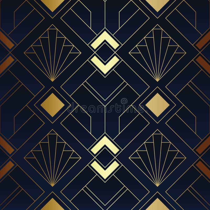 Free Abstract Art Deco Seamless Blue And Golden Pattern 01 Stock Images - 159443114