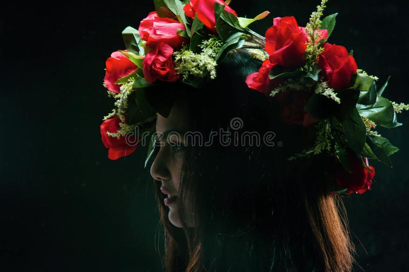 The abstract art design background of beauty lady face with rose crown on her head,portrait style,vintage and art tone royalty free stock photography